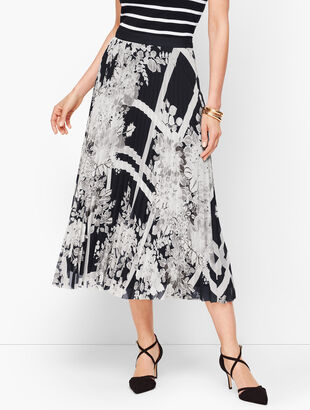 Lattice Bouquets Pleated Midi Skirt