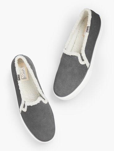 Keds® Double Decker Slip-On Sneakers - Suede Shearling