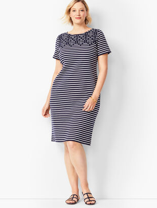 Embroidered Yoke Shift Dress - Stripe