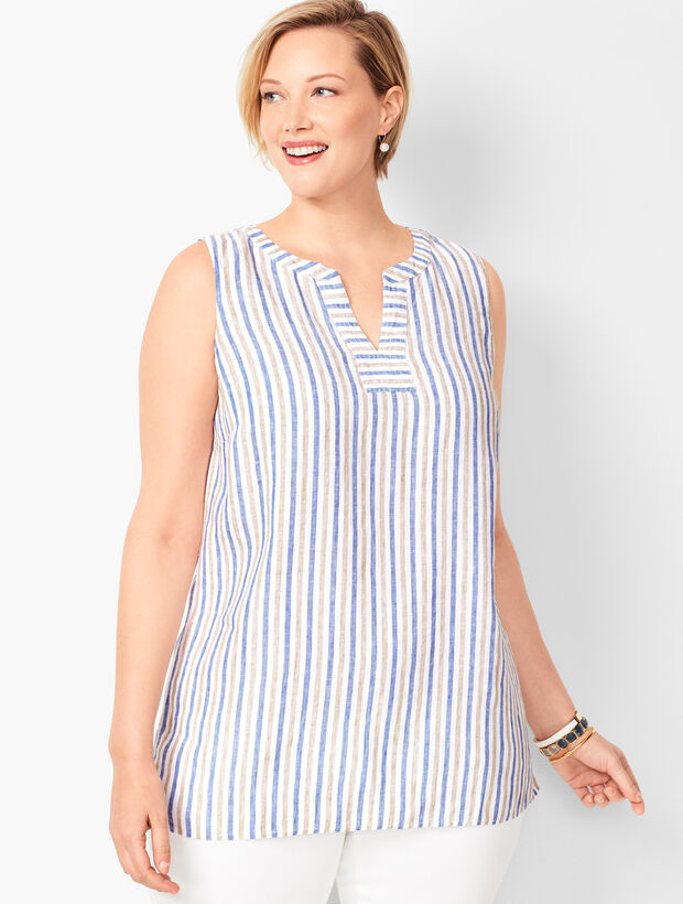 Split-Neck Linen Shell - Coastal Stripe