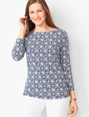 Cotton Bateau-Neck Tee - Flower Mosaic