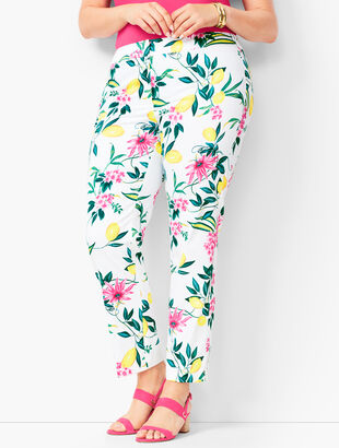 Plus Size Lemon-Motif Tailored Ankle Pants