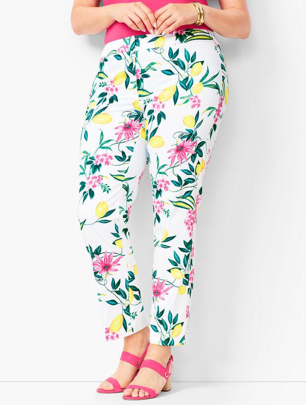 Plus Size Lemon-Motif Tailored Ankle Pants