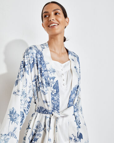 Washable Silk Blooming Toile Robe