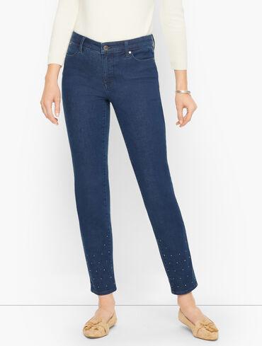 Crystal Hem Slim Ankle Jeans - Supernova Wash