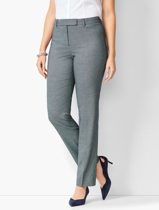 Bi-Stretch High-Waist Straight-Leg Pants - Birdseye - Curvy Fit