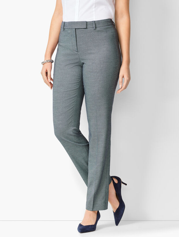 Bi-Stretch High-Waist Straight-Leg Pants - Curvy Fit - Birdseye
