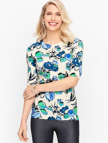 Cotton Blend Sweater - Floral