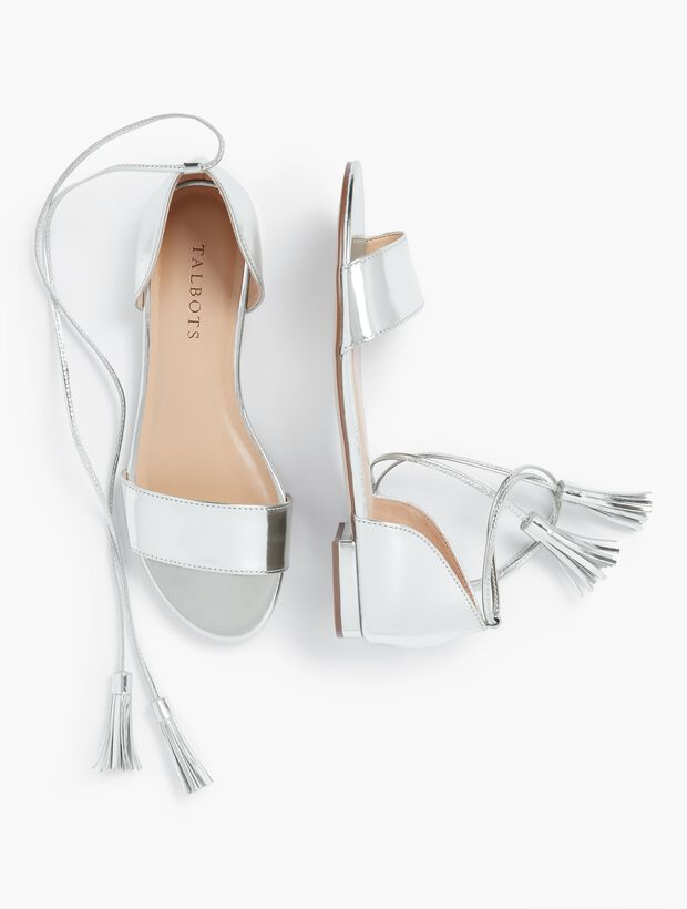 Keri Tasseled Ankle-Strap Sandals - Mirror Metallic
