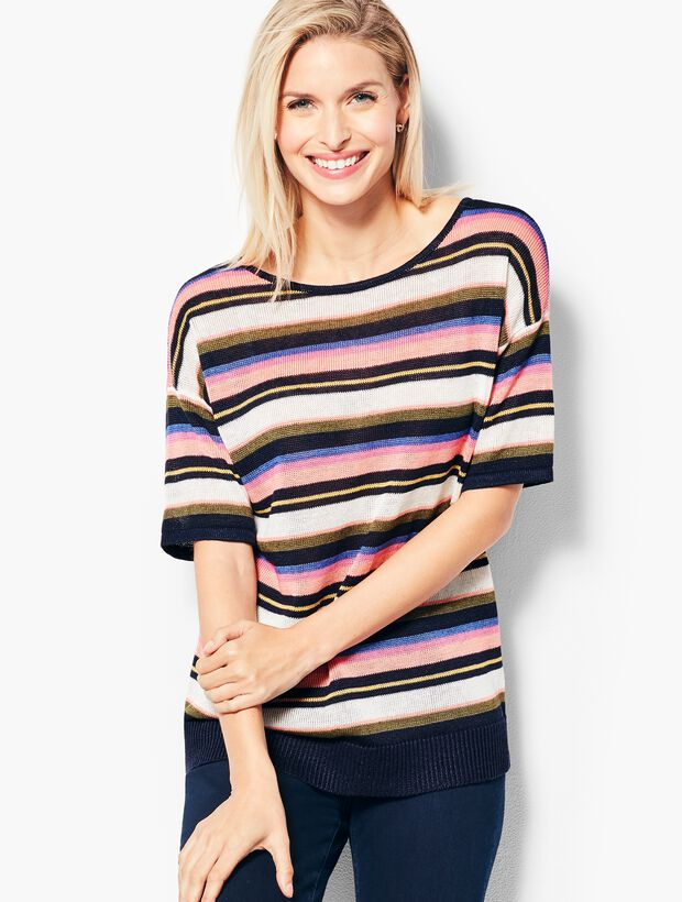 Dolman-Sleeve V-Back Sweater - Stripe