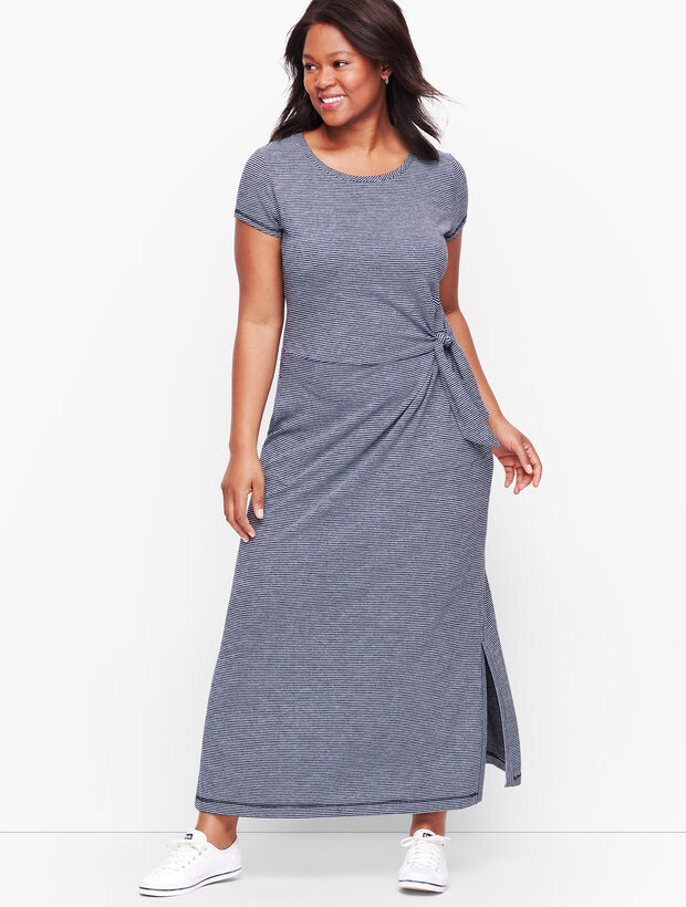 Tie Front Stripe Maxi Dress