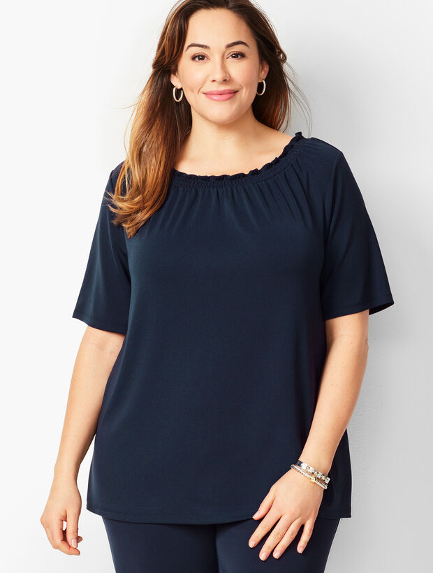 Plus Size Knit Jersey Gathered-Neck Top