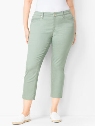 Plus Size Denim Straight Crops - Curvy Fit - White & Olivine