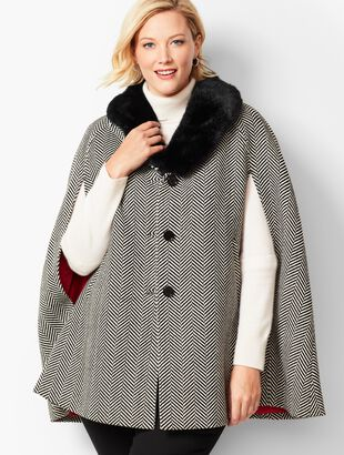 Faux-Fur Collar Herringbone Cape