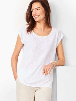 Drop-Shoulder Linen Tee