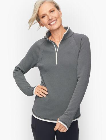 Half Zip Pullover - Grid Check