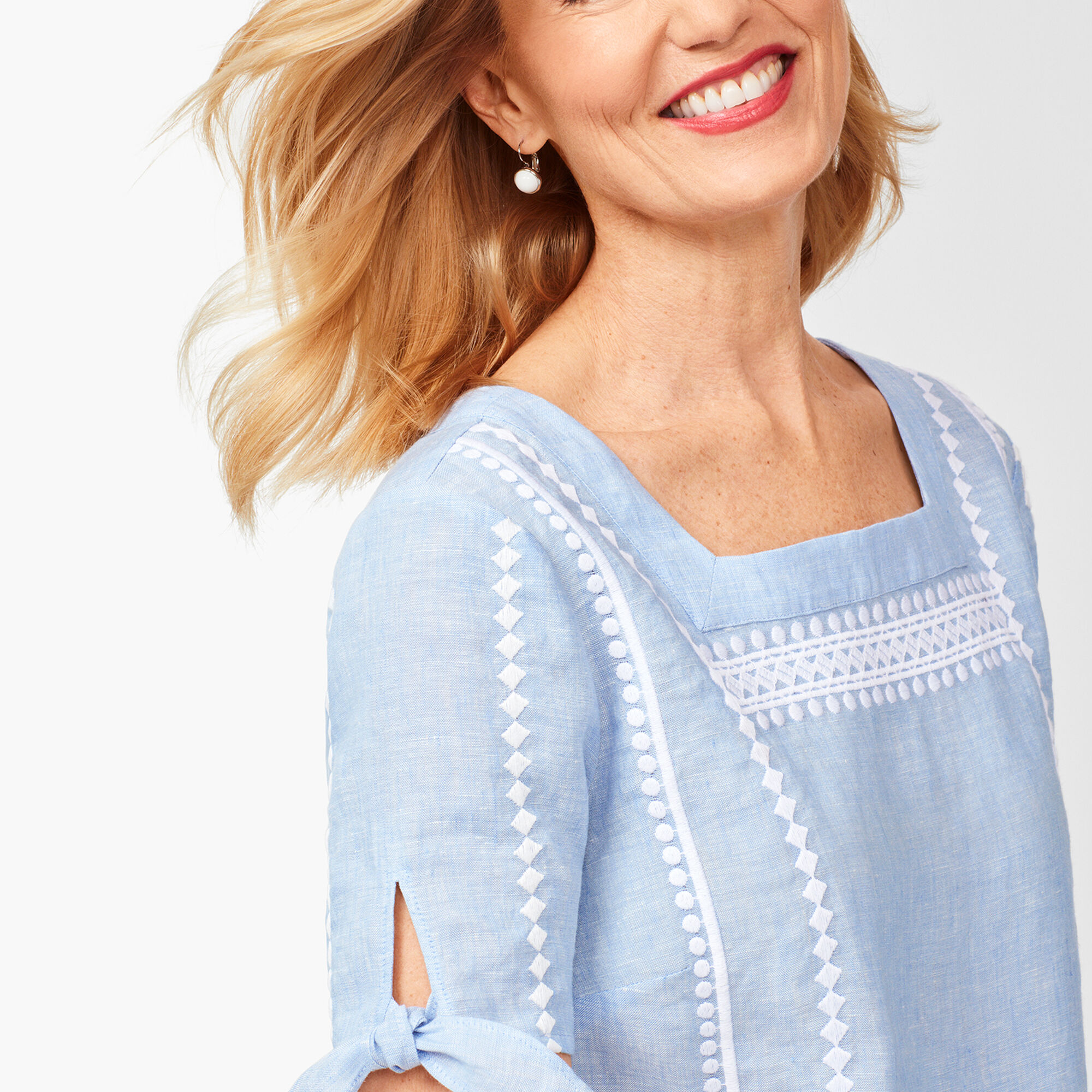a5734d02cf Square-Neck Embroidered Linen Top - Cross Dyed   Talbots