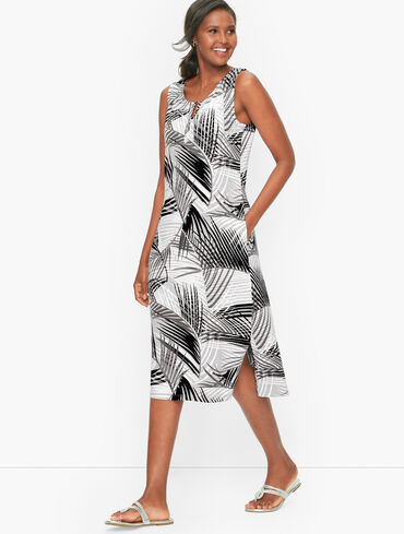 Painted Fronds Midi Dress