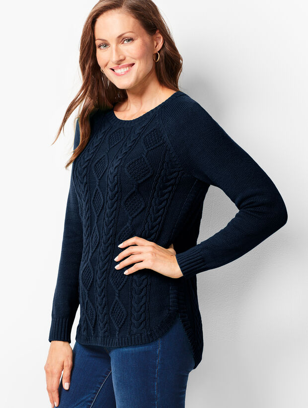 Cotton Crewneck Cable Sweater
