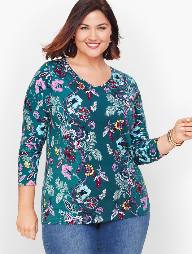 Long Sleeve V-Neck Tee - Floral Paisley