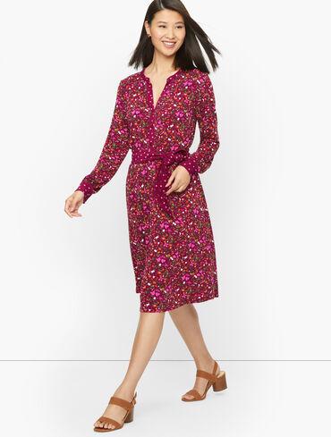 Tie Waist Fit & Flare Dress - Fruits & Flowers