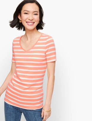 Cotton V-Neck Tee - Lunada Stripe