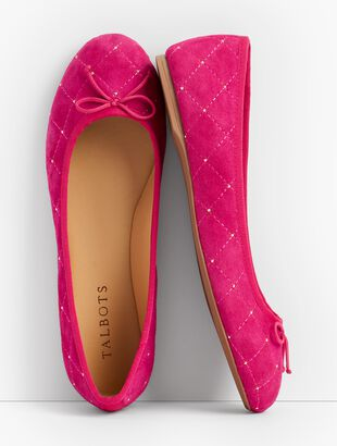 Penelope Quilted Ballet Flats - Studded Kid Suede