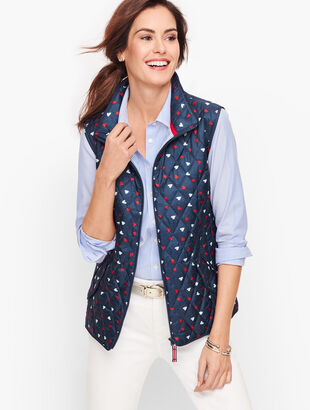 Diamond Quilted Vest - Heart Print