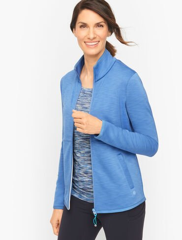 Brushed Scuba High-Low Jacket - Striated