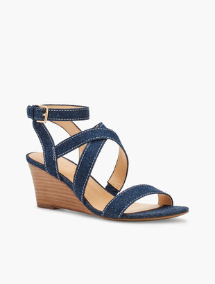 Royce Strappy Wedges - Denim