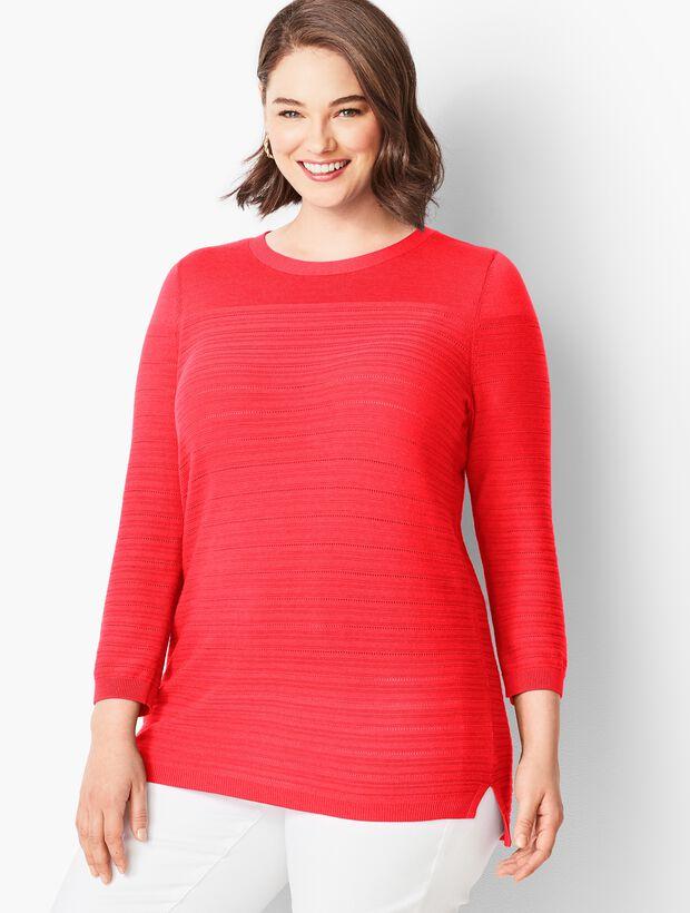 Three-Quarter-Sleeve Pointelle Pull-On Sweater