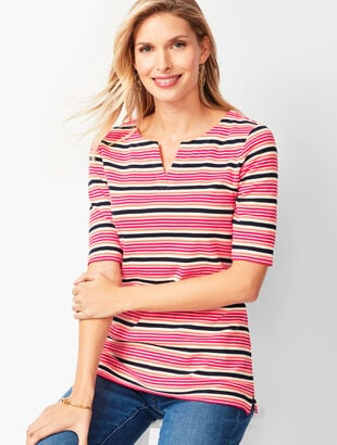 Cotton Split-Neck Tee - Multi-Stripe