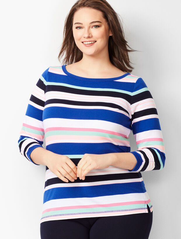 Three-Quarter Sleeve Tees - Multi- Color Stripe