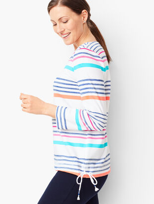 Stripe Terry Drawstring Top