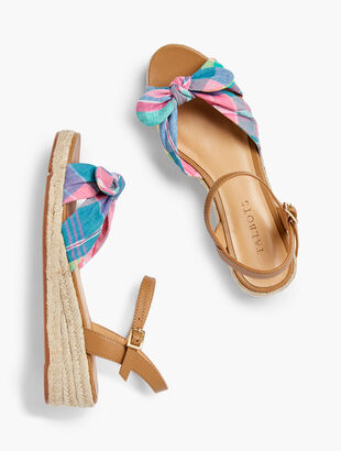 Pamela Knotted Espadrille Wedges - Madras Plaid
