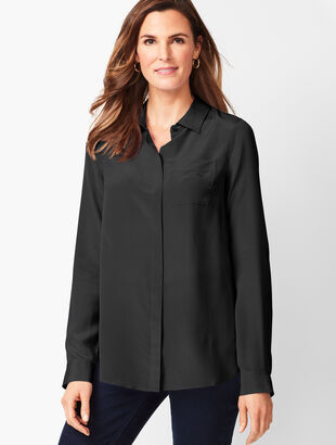Washable-Silk Button-Down Shirt - Solid