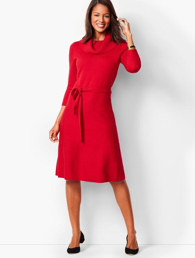 Tweed Cowlneck Fit & Flare Dress