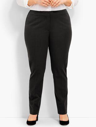 Plus Size Refined Bi-Stretch Tailored Straight-Leg Pants- Curvy Fit