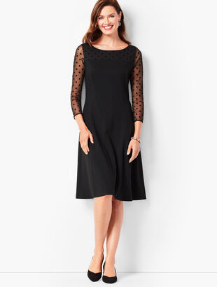 Mesh-Dot Ponte Fit and Flare Dress