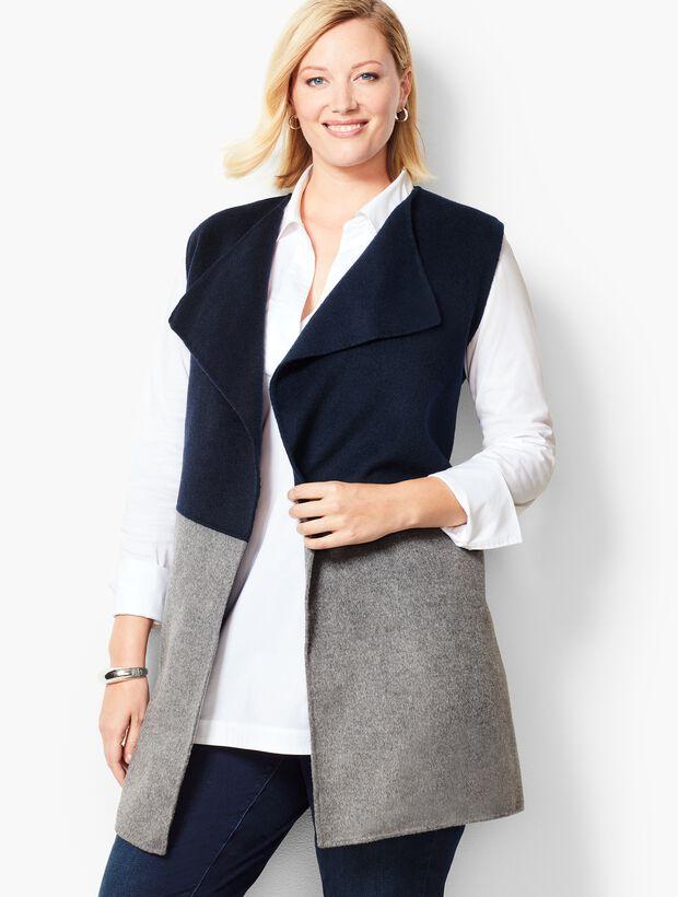 Plus Size Colorblock Wool Blend Vest