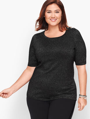 Diamante Button Shoulder Shimmer Sweater