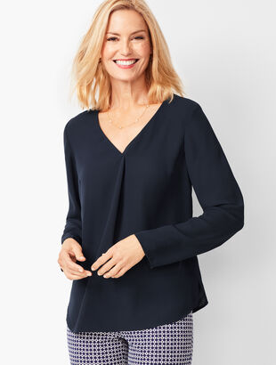 V-Neck Pleated Top - Solid
