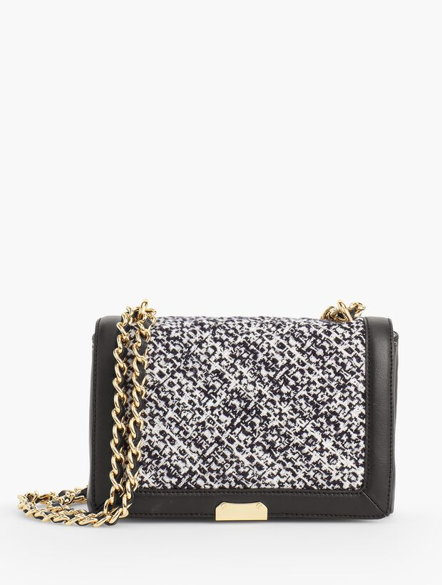 Textured Tweed Medium Shoulder Bag with Chain Strap