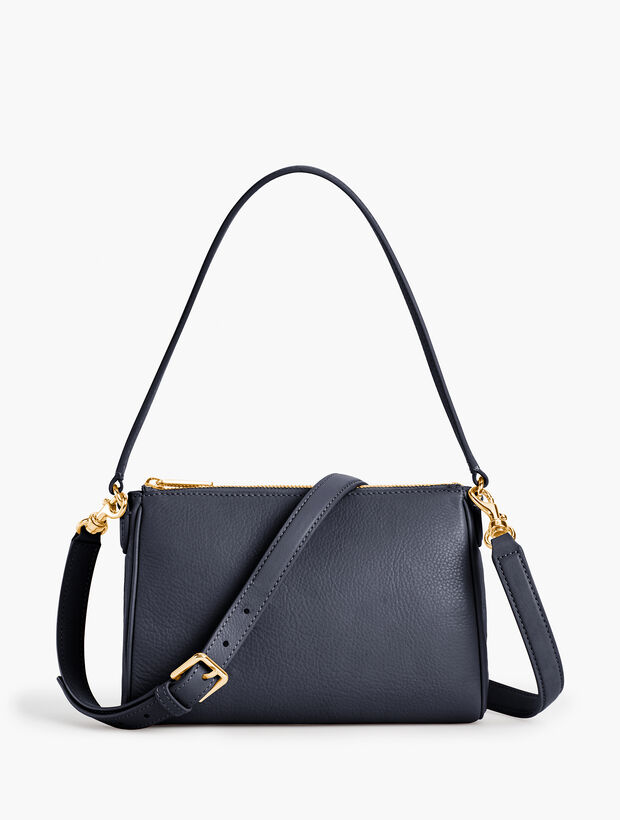 Two-Way Pebble Leather Crossbody Bag