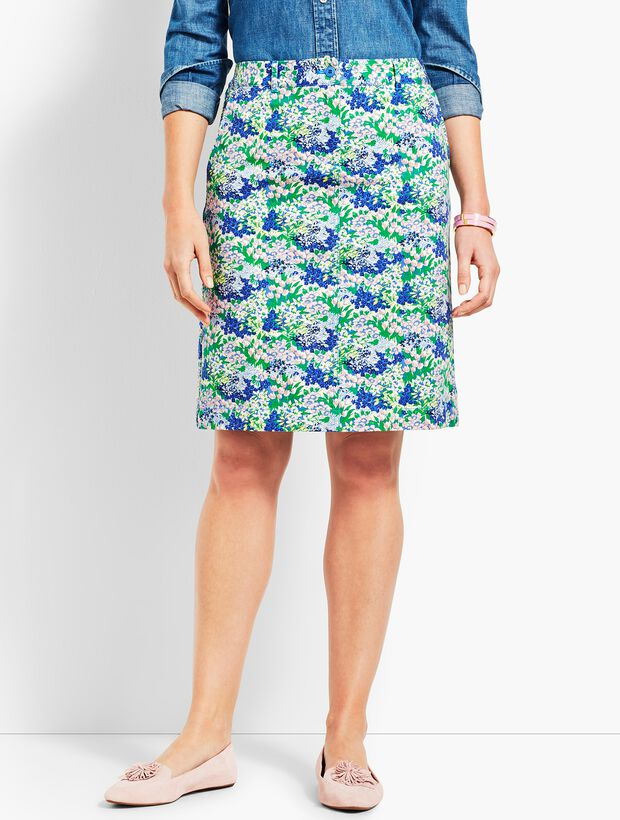 A-Line Stretch Skirt - Flower Print