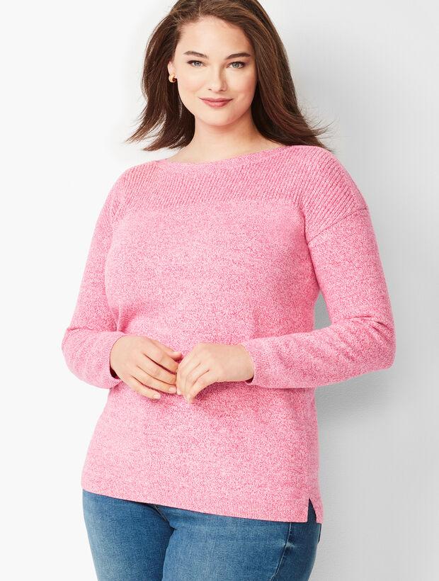 Ribbed-Yoke Sweater - Marled