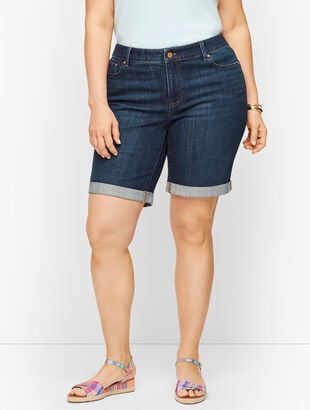 Plus Size Girlfriend Denim Shorts - Curvy Fit - Genuine Dark Wash