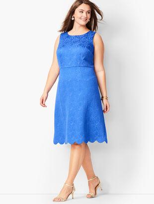 Scallop-Hem Matelassé  Dress