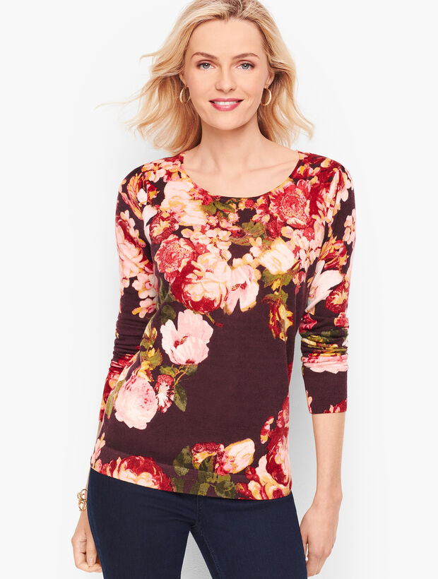 Gathered Shoulder Merino Sweater - Floral