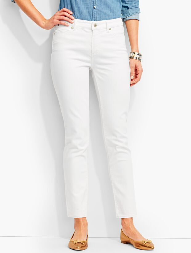 The Flawless Five-Pocket Frayed-Hem Crop-White